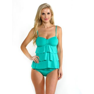 Kenneth Cole Reaction Women's Jade Tiered Ruffle Tankini Top with Folded Hipster Bottoms