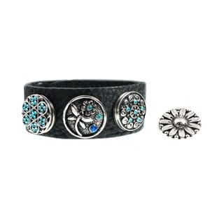 Dragonfly and Blue Crystal Leather Bracelet with Snap-on Interchangeable Button Charms