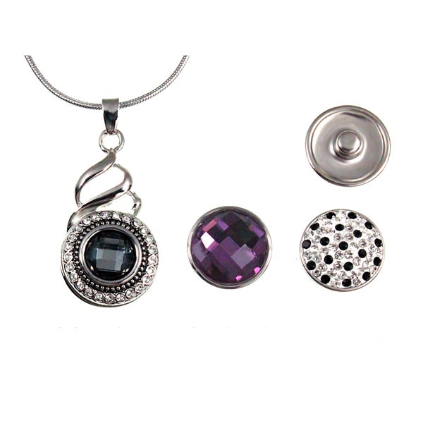 Grey and White Crystal Pendant Necklace Comes with Three Interchangeable Button Snap-on Charms