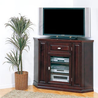 Chocolate Cherry Corner TV Stand