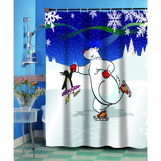 Ice Dancers Christmas Themed Holiday Fabric Shower Curtain