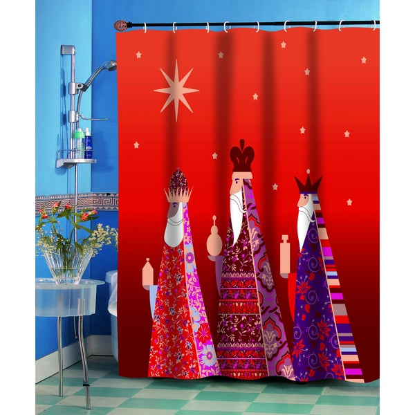 Three Kings Christmas Themed Holiday Fabric Shower Curtain
