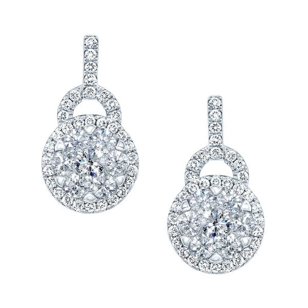 14k White Gold 1 1/2ct TDW Diamond Stud Drop Earrings (H-I, SI1-SI2)