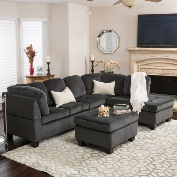 Christopher Knight Home Canterbury 3-piece Fabric Sectional Sofa Set