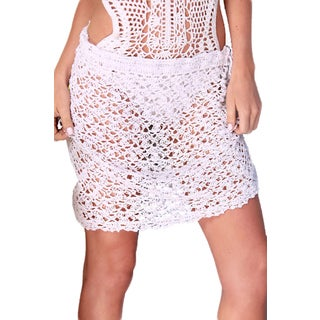 White Short Crochet Sarong