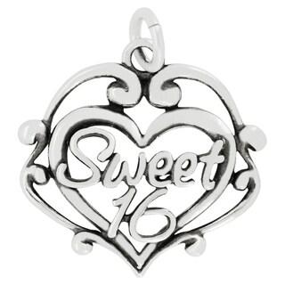 Sterling Silver Sweet 16 Filigree Heart Charm Pendant