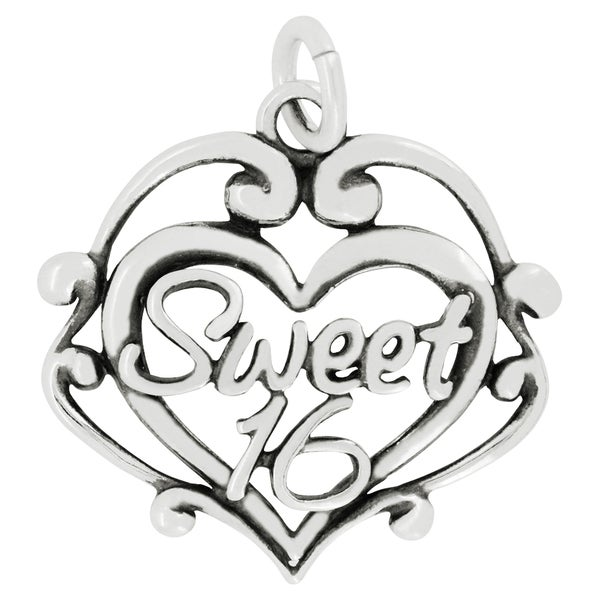 Sterling Silver Sweet 16 Filigree Heart Charm Pendant