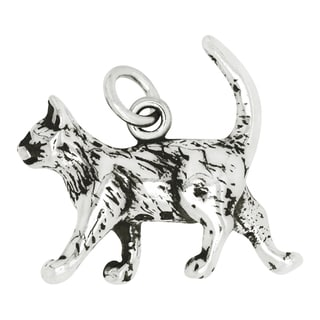 Sterling Silver Strolling Cat Charm Pendant