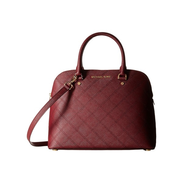 Michael Michael Kors Cindy Large Dome Satchel Stitch Quilt Merlot