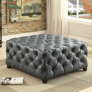 Furniture of America Karlie Contemporary Square Tufted Bonded Leather Ottoman