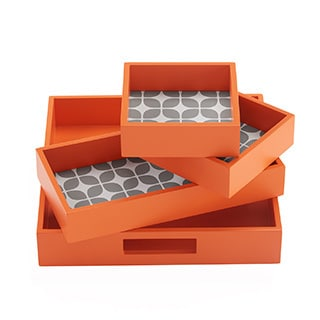 Intelligent Design Elena 4-Piece Decorative Tray Set - 2 Color Options