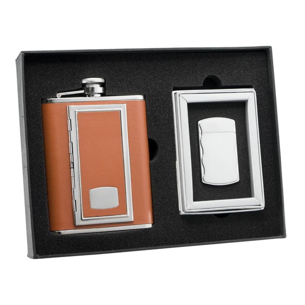 Visol SP Brown Cigarette Case Flask and Visol SP Fireball Silver Cigarette Lighter Set