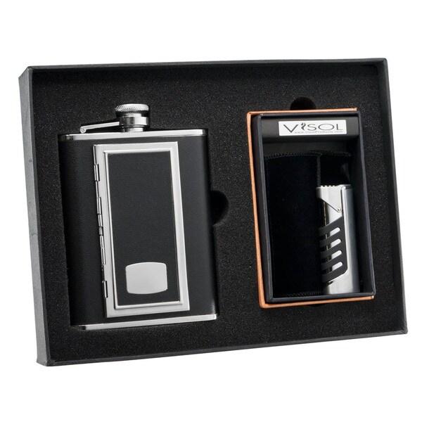 Visol SP Black Cigarette Case Flask and Visol SP Presa Chrome and Black Torch Flame Lighter Set