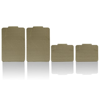 FH Group Beige Anti-slip Modern Checker Style All Weather Auto Floor Mats