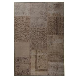 Hand Printed Kony Sand Vintage Print rug (2'x3')
