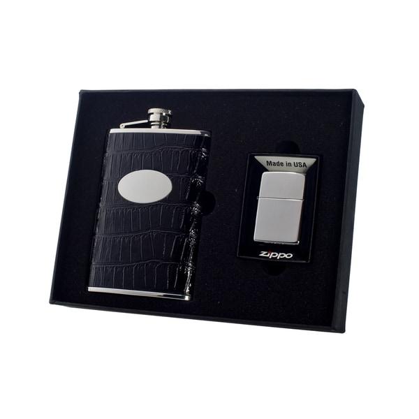 """Visol """"Fantastique"""" 8oz Flask and Zippo Gift Set"""