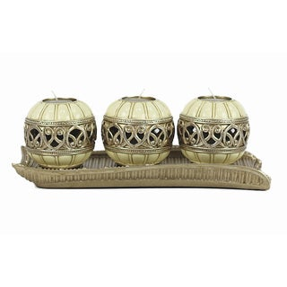 D'Lusso Designs Juliana Collection Four Piece Tray with Three Orb Set