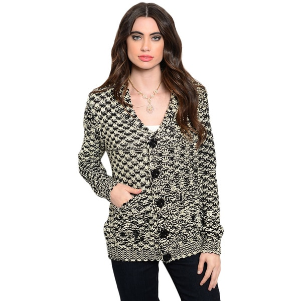 Shop the Trends Women's Long Sleeve Chunky Knit Cardigan Sweater With Button Up Closure And Hidden Pockets