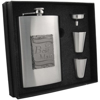 Visol Celebrate Best Man Embossed Stainless Steel Supreme II Flask Gift Set - 8 ounces
