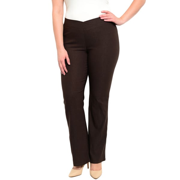 Shop the Trends Women's Plus Size Stretch Knit Trousers With Wide Stretch Waistband Flared Pants Silhouette