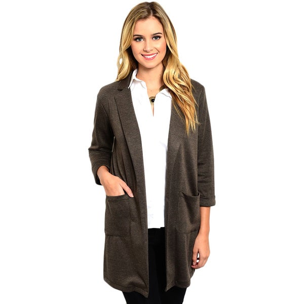 Shop the Trends Women's 3/4 Sleeve Boyfriend Fit Jacket With Open Front Design And Exposed Pocket Details