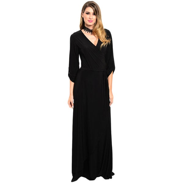 Shop the Trends Women's 3/4 Sleeve Maxi Dress With Deep V-Neckline And Self-Tie Wrap Detail