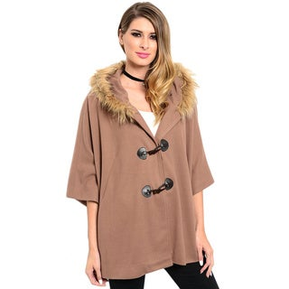 Shop the Trends Women's 3/4 Sleeve Coat With Toggle Button Closure And Fur Trimmed Hood