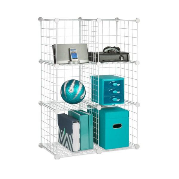6-pack modular mesh storage cube, white