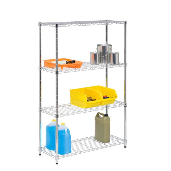 4-tier shelving unit, 350lb chrome