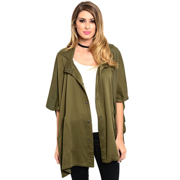Shop the Trends Women's 3/4 Sleeve Relaxed Fit Parka Jacket With Snap Button Closure And Hooded Detail