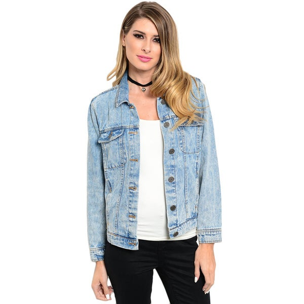 Shop the Trends Women's Long Sleeve Denim Jacket With Front Button Closure And Acid Wash Finish