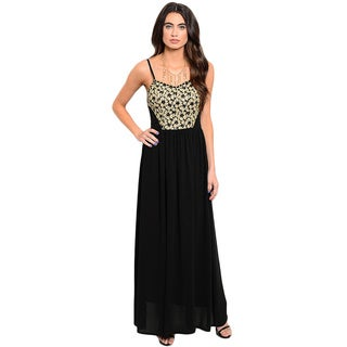 Shop the Trends Women's Spaghetti Strap Empire Cut Maxi Dress With Lace Bodice And Double Slits