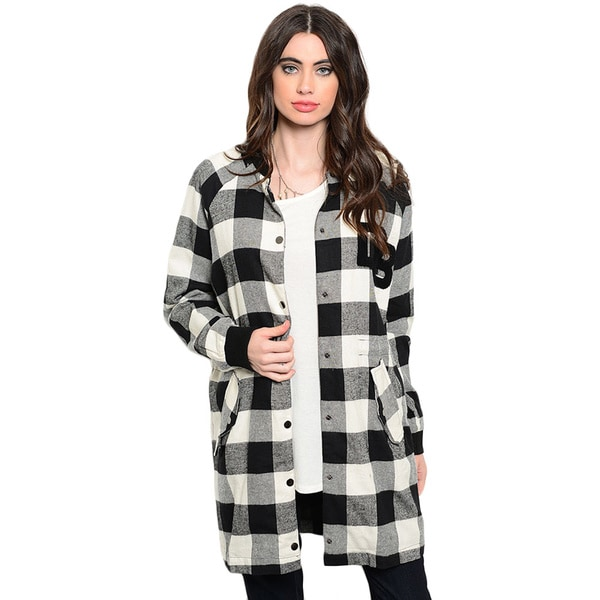 Shop the Trends Women's Long Sleeve Elongated Coat With Snap Button Closure And Allover Plaid Print