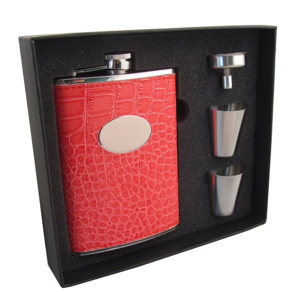 Visol Sweety Coral Crocodile Pattern Supreme II Flask Gift Set - 8 ounces 16701729
