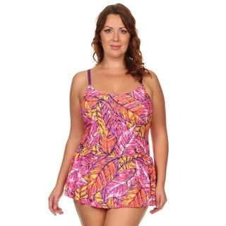Dippin Daisy's Plus Size Pink Feathers One Piece Swimdress