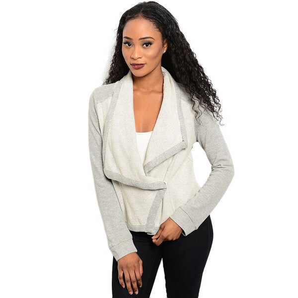 Shop the Trends Women's Long Sleeve Knit Jacket With Contrast Colored Trim And A Single Button Closure