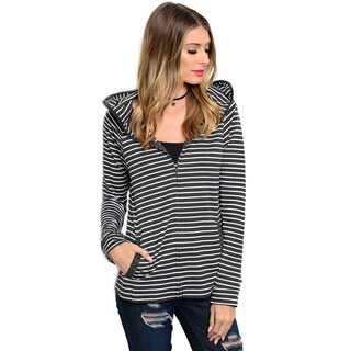 Shop the Trends Women's Long Sleeve Striped Hoodie With Hidden Kangaroo Pockets And Zipper V-Neck