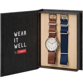 Timex® Weekender Box Set with Leather and Nylon Straps
