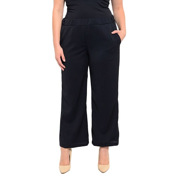 Shop the Trends Women's Plus Size Pinstriped Trousers With Wide Legged Fit And Hidden Pockets