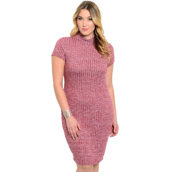 Shop the Trends Women's Plus Size Short Sleeve Ribbed Knit Bodycon Dress With Mock Neckline