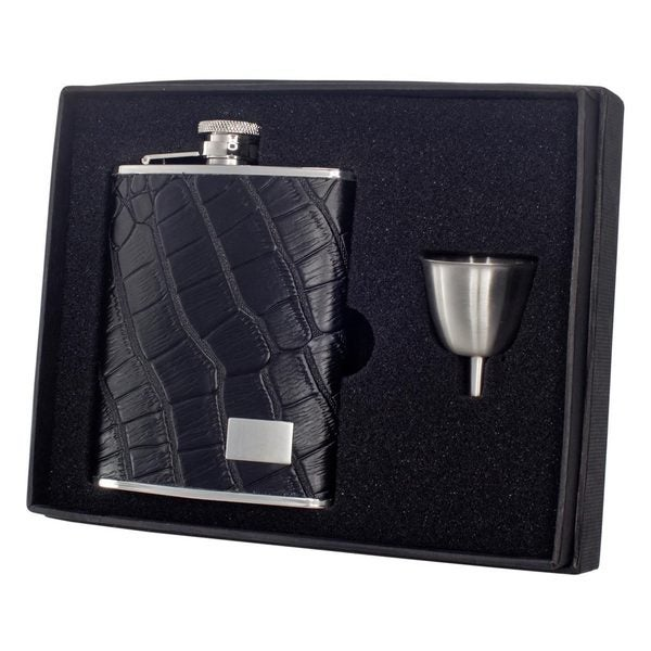 "Visol ""Gator"" Black Crocodile Leather 6oz Hip Flask Gift Set"