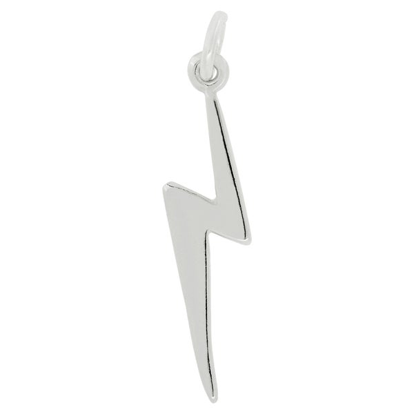 Sterling Silver Lightning Bolt Charm Pendant with Carded 18-inch sterling silver box chain