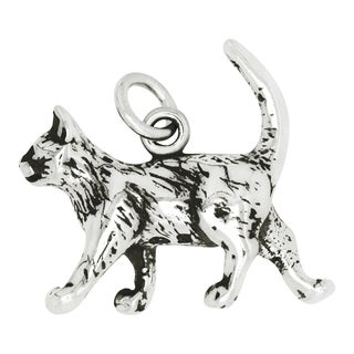 Sterling Silver Strolling Cat Charm Pendant with Carded 18-inch Sterling Silver Box Chain