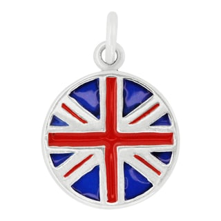 Sterling Silver British Flag Disc Charm Pendant with Carded 18-inch Sterling Silver Box Chain
