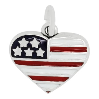 Sterling Silver Red White Blue USA Flag Heart Charm Pendant with Carded 18-inch Sterling Silver Box Chain