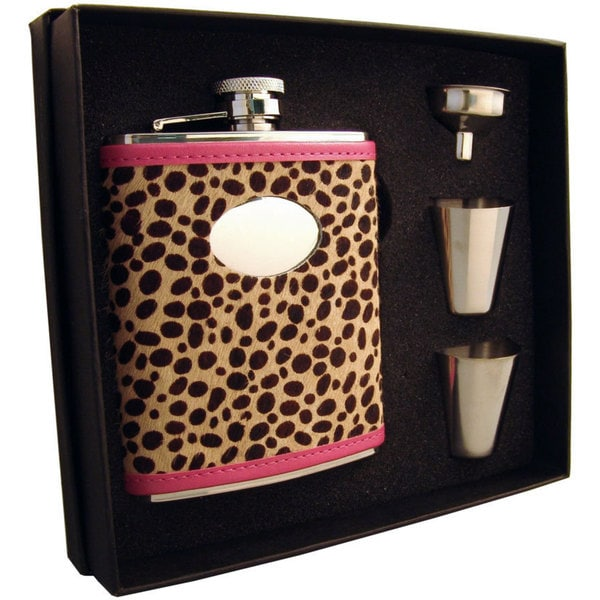 Visol Cheetah Pink & Cheetah Pattern Supreme Flask Gift Set - 6 ounces 16701883