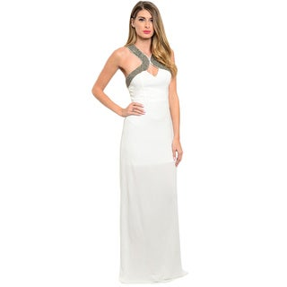 Shop the Trends Women's Sleeveless Maxi Dress With Partial Lining And Embellished Yoke Design