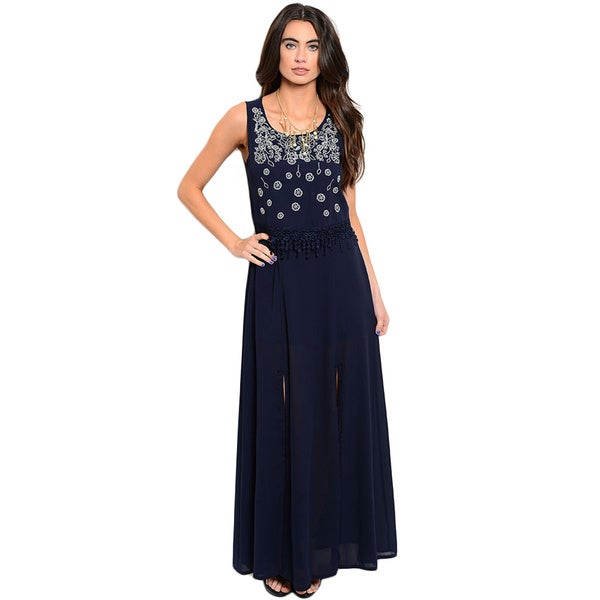 Shop the Trends Women's Sleeveless Maxi Dress With Scooped Neckline And Flounce Layer On Hem