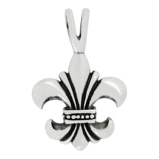 Sterling Silver Fleur-De-Lis Design Charm Pendant with Carded 18-inch Sterling Silver Box Chain