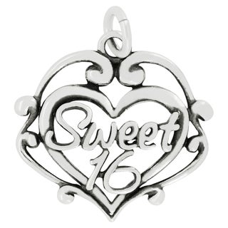 Sterling Silver Sweet 16 Filigree Heart Charm Pendant with Carded 18-inch Sterling Silver Box Chain